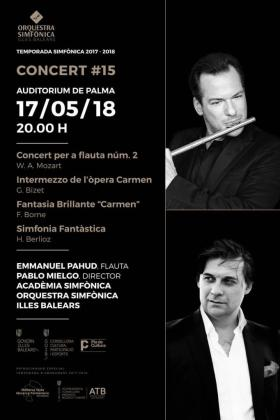 Cartel del decimoquinto concierto de temporada de la Orquestra Simfònica de les Illes Balears en el Auditórium de Palma