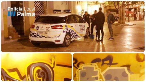 Agentes de la Policía Local toman los datos a los dos grafiteros interceptados.