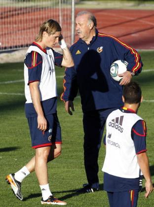El entrenador de la selección española, Vicente Del Bosque (d), da instrucciones al delantero Fernando Torres (i), durante la sesión de entrenamiento que realizó el pasado domingo con la selección española en la Ciudad del Fútbol de Las Rozas (Madrid).