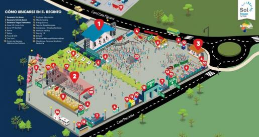 Gráfico de las instalaciones donde se llevará a cabo el Mallorca Live Festival.