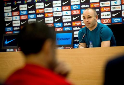 Andrés Iniesta, cuando anunció su marcha del Barça.