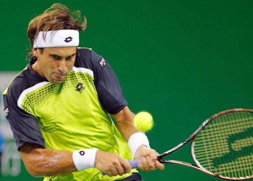 David Ferrer, en un momento del partido disputado contra Juan Carlos Ferrero en Shangái.