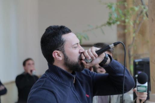 Valtonyc durante un acto de apoyo en la UIB.
