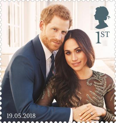 Imagen facilitada por el servicio de correos británico Royal Mail que muestra un sello de la serie conmemorativa de la boda del príncipe Enrique y su prometida Meghan Markle.