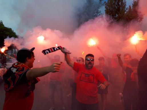Así ha recibido la afición del Mallorca al equipo a su llegada a Son Moix