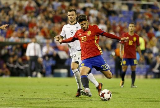 Marco Asensio, durante el duelo de la selección española ante Albania.