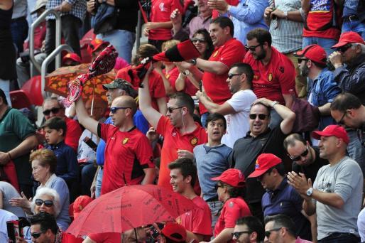 La afición del Mallorca el pasado domingo en el partido ante el Mirandés en Son Moix.