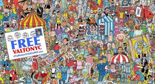 Caricatura sobre Valtonyc que imita los comics de ¿Dónde està Wally?.