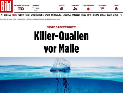 Imagen de la publicación alemana sobre las últimas noticias en la costa de Mallorca.