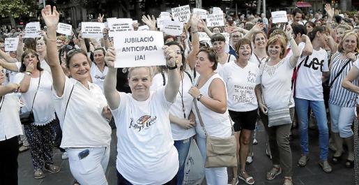 Protesta de las 'kellys' del pasado verano en Palma para reclamar mejoras de sus condiciones laborales.