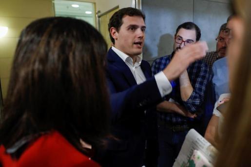El líder de Ciudadanos, Albert Rivera, en declaraciones a los medios de comunicación.