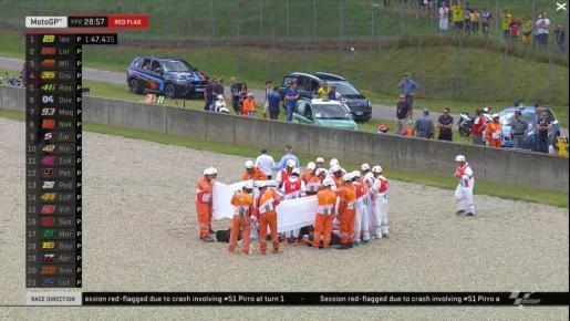 Asistencias médicas atendiendo sobre la grava del circuito a Michele Pirro.