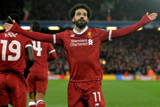 Mohamed Salah celebra un gol conseguido con el Liverpool esta temporada.