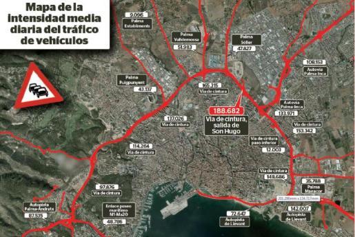Mapa de la densidad del tráfico en la vía de cintura y sus accesos.