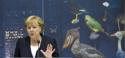 Angela Merkel ofreció ayer una conferencia en Berlín relacionada con la protección de los mares.
