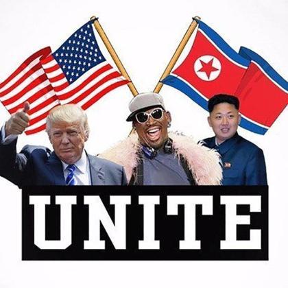 Donald Trump, Dennis ROdman y Kim Jong-un en un fotomontaje realizado por el exjugador de la NBA.