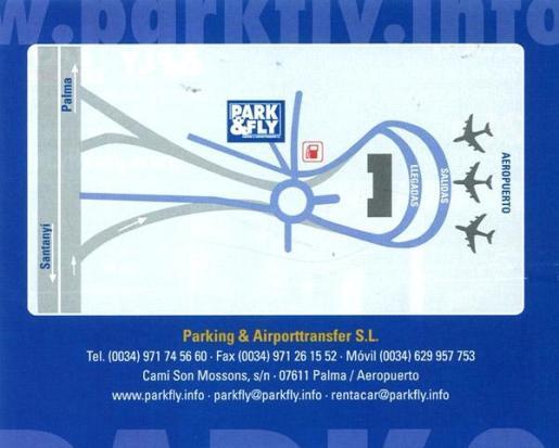 Mapa de localización de Park & Fly, con accesos directos desde el aeropuerto de Palma.
