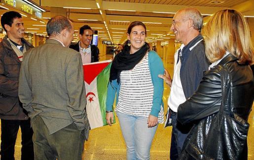 La cooperante mallorquina, a su llegada al aeropuerto de Palma, ayer por la noche.