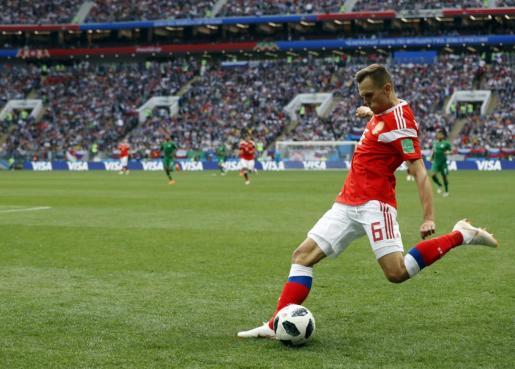 Denis Cheryshev se ha convertido en la estrella del partido al anotar un doblete.