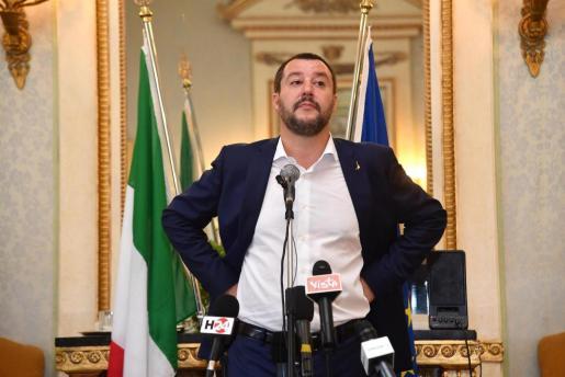 El ministro italiano de Interior, Matteo Salvini, ofrece una rueda de prensa en Génova.