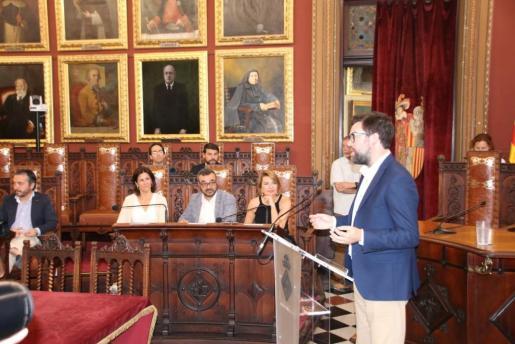 El alcalde de Palma, Antoni Noguera, durante su intervención en el debate del estado de la ciudad.