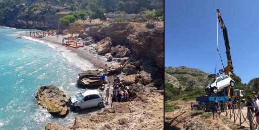 Ha sido necesario el uso de un camión grúa para poder sacar el coche de la playa.