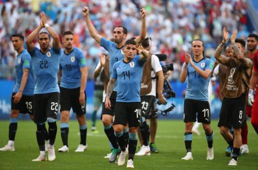 Los jugadores de Uruguay celebrando la victoria ante Rusia.