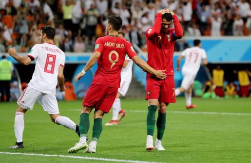 Cristiano Ronaldo se lamenta durante el encuentro ante Irán.