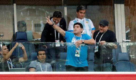 Maradona en el último partido de la selección argentina.