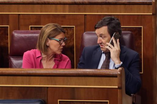 La diputada del Partido Popular María Dolores de Cospedal (i) conversa con el portavoz popular Rafael Hernando durante el pleno del Congreso celebrado el pasado jueves.