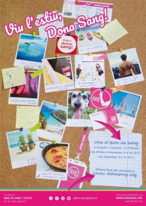 Cartel de la nueva campaña de verano de la FBSTIB: «Vive el verano, dona sangre».
