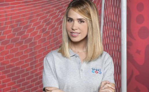 María Gómez en la presentación del equipo de Mediaset desplazado al Mundial de Rusia.