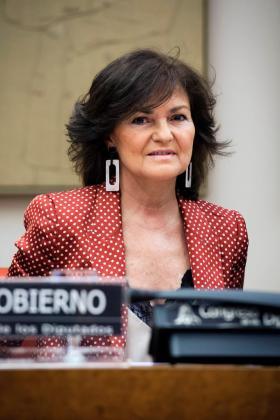 La vicepresidenta del Gobierno y ministra de Igualdad, Carmen Calvo, comparece ante la Comisión Constitucional del Congreso, para informar de la líneas generales de su departamento.