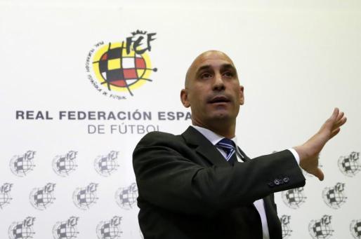 El presidente de la RFEF, Luis Rubiales, durante la rueda de prensa ofrecida ayer.