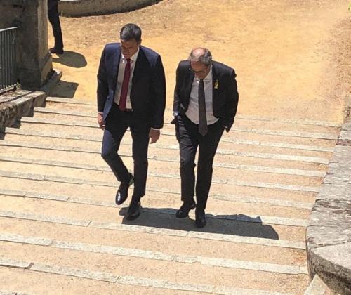 Pedro Sánchez y Quim Torra durante su reunión en la Moncloa.