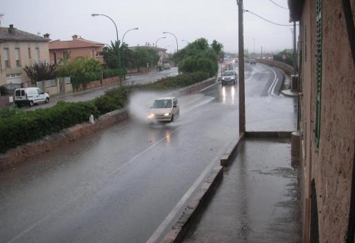 Carretera de Sineu inundada