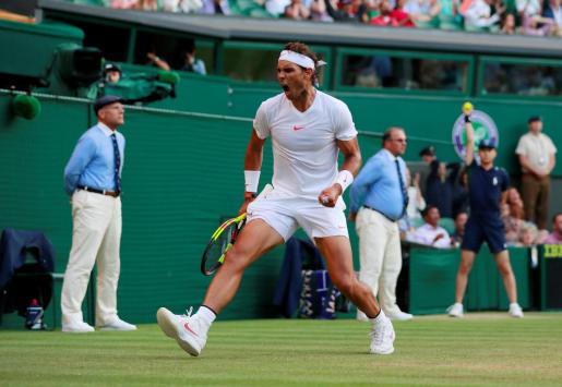 Rafael Nadal celebra su victoria de ayer ante Juan Martín del Potro.