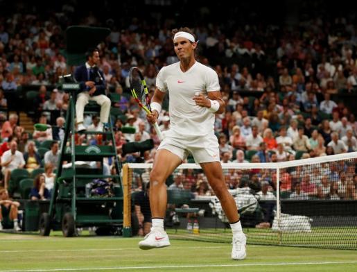 Rafael Nadal durante el encuentro ante Djokovic.