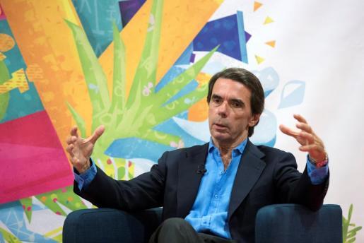 El expresidente del Gobierno José María Aznar durante su participación en un encuentro organizado en el marco de los Cursos de Verano de la Universidad de Málaga.