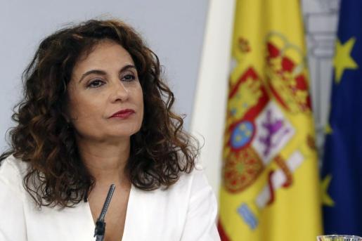 La ministra de Hacienda, María Jesús Montero, durante la rueda de prensa celebrada tras el Consejo de Ministros, en el Palacio de La Moncloa.