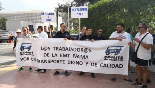 Protesta de los trabajadores de la EMT.