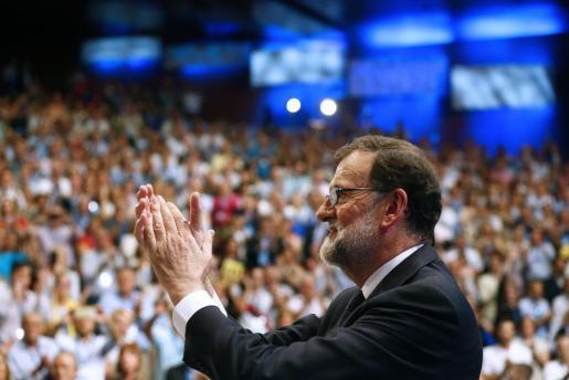 El presidente del Partido Popular, Mariano Rajoy, tras su intervención en el XIX Congreso Nacional del partido.