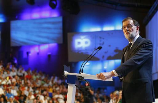 El presidente del PP, Mariano Rajoy, durante su intervención.