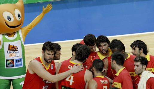 Varios de los jugadores de la Selección Española de Baloncesto, durante el pasado Eurobasket.