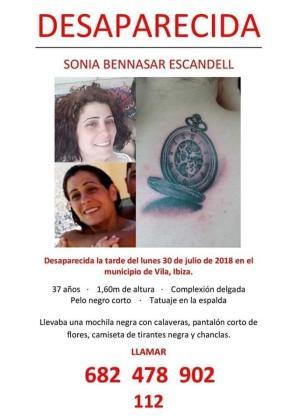 Cartel de búsqueda de Sonia Bennasar Escandell.