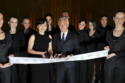 El diseñador italiano Giorgio Armani durante la inauguración oficial de su Hotel en Milan.