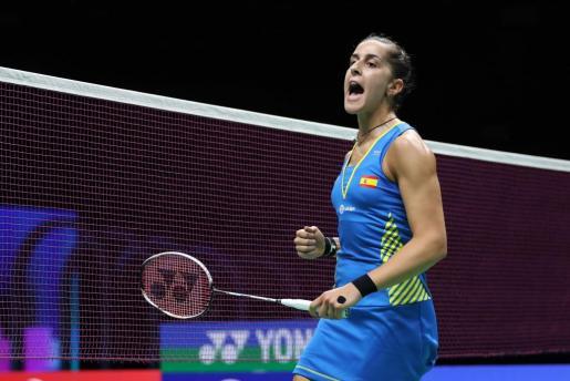 La española Carolina Marín reacciona durante su encuentro de semifinales.