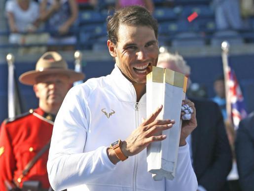 Rafa Nadal, tras ganar en Toronto.