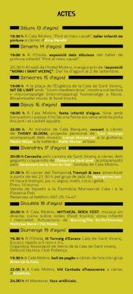 Programa de las fiestas de verano de Cala Sant Vicenç.