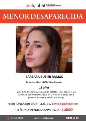 Imagen del cartel de búsqueda de la menor Bárbara Butier desaparecida en Garnada.